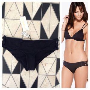 L*SPACE - Black Sensual Solids Bikini Lacey Bottom